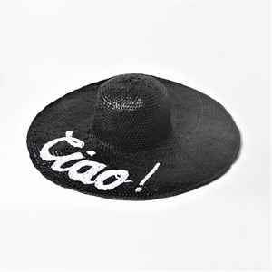 Ciao Embroidered Wide Brim Hat