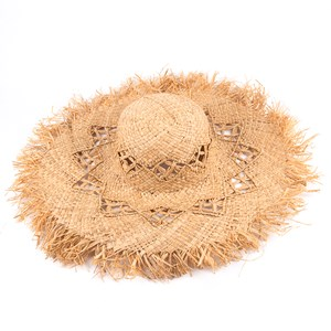 Diamond Cutout Fringe Edge Wide Brim Hat