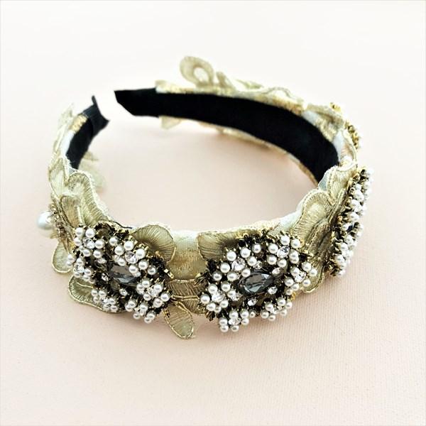 Metallic Thread Floral & Pearl Headband