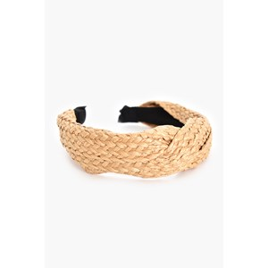 Bonnie Wide Plaited Raffia Cross Over Headband