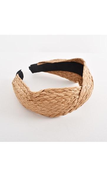 Mae Looped Raffia Plaited Wide Headband