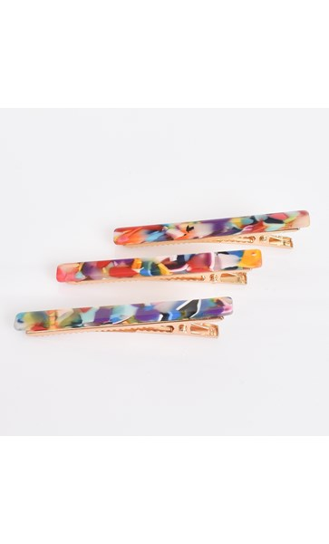 Set of 3 Multi Mini Hair Slides