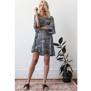 Ruffle Dress Abstract Stripe ML