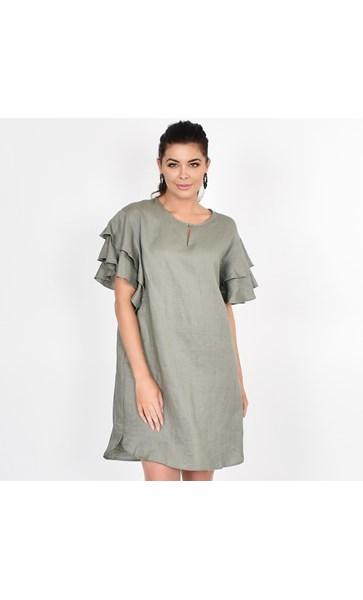 Harper Frill Sleeve Linen Dress Size SM
