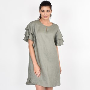 Harper Frill Sleeve Linen Dress Size ML