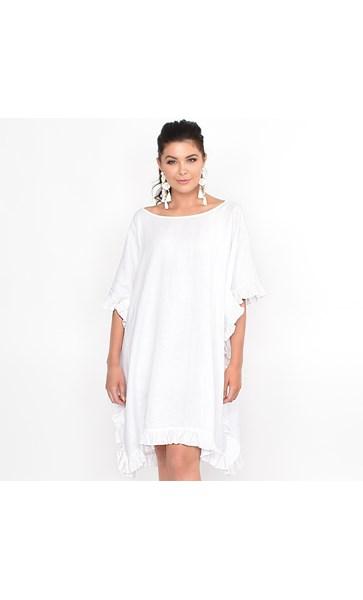 Isla Free Size Frill Linen Dress