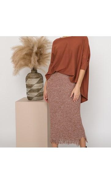 Farrah Fringe Edge Knit Skirt Medium