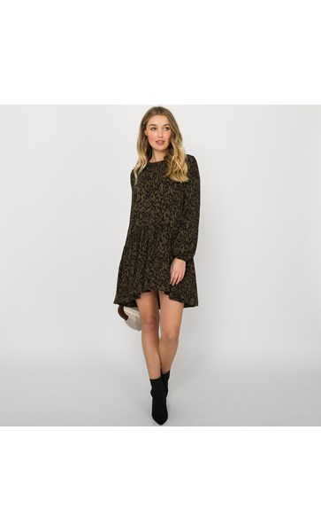Charlie Leopard Print Drop Waist Dress Size M