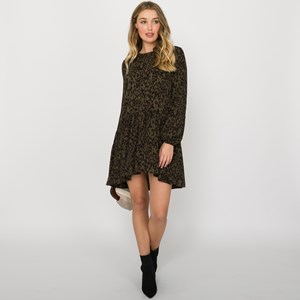 Charlie Leopard Print Drop Waist Dress Size L