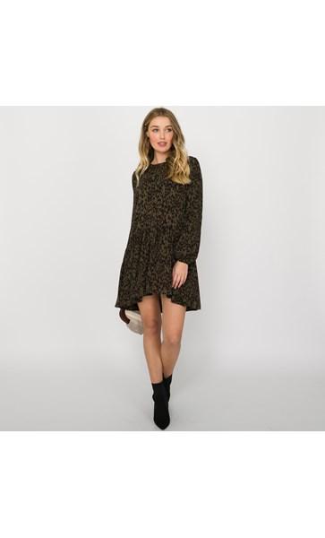 Charlie Leopard Print Drop Waist Dress Size L