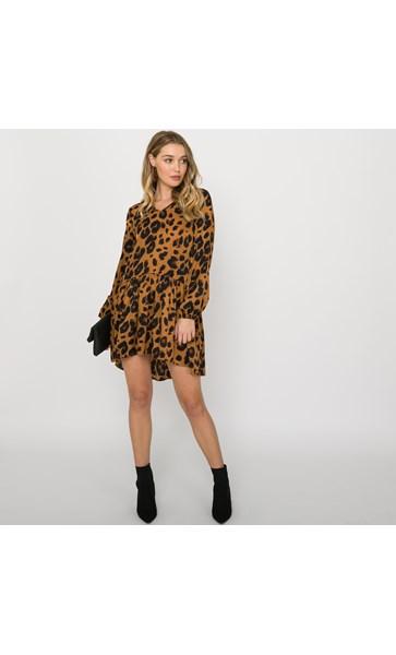 Mia Leopard Print Drop Waist Dress Size L
