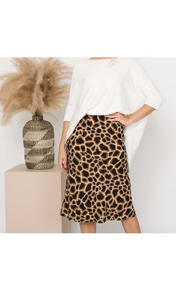 Chi Chi Animal Print Midi Skirt Size S