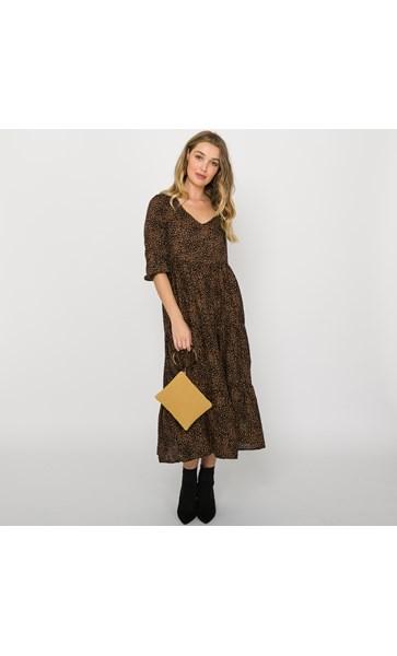 Luna Pebble Print Tiered Maxi Dress Size L