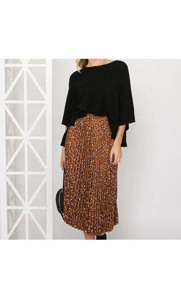 Bella Pleated Leopard Skirt Size 8