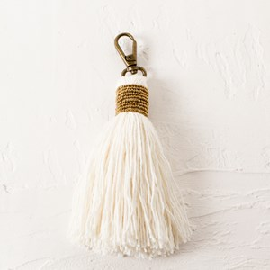 Seed Bead Capped Cotton Tassel Charm