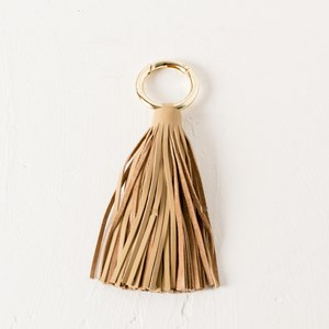 Soft Long Leather Tassel Clip Keyring