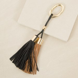 Double Capped Leather Tassel Keyring