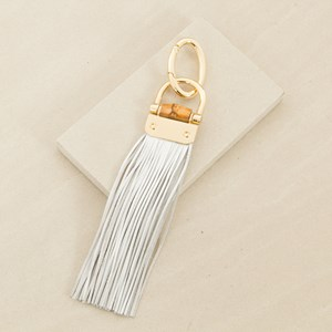 Bamboo Flat Leather Tassel Keyring