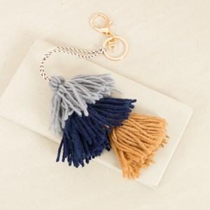 Tri Tassel Wool Charm