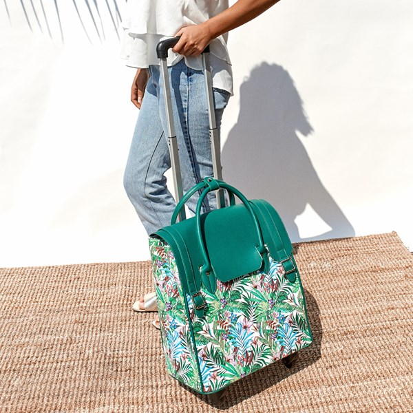 Tropicale Print Flap Over Wheelie Bag
