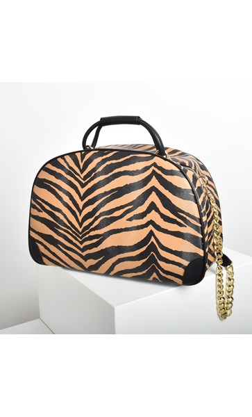 Zebra Print Travel Shoulder Bag