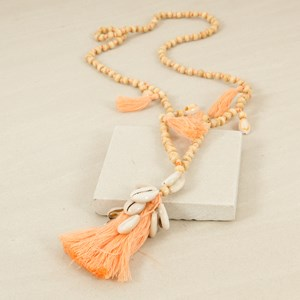 Multi Tassels Shell Cluster Timber Necklace