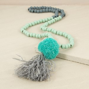 Raffia Pom Pom & Tassel Long Timber Necklace