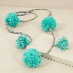Raffia Pom Pom & Tassel Seed Bead Necklace