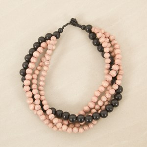 Four Strand Timber Bead Necklace