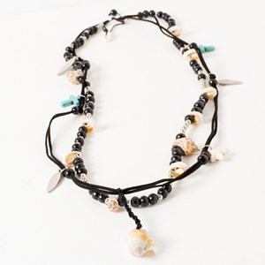 Boho Double Strand Bead & Shell Necklace