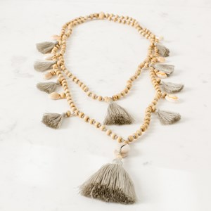 Double Strand Tassel & Shell Necklace