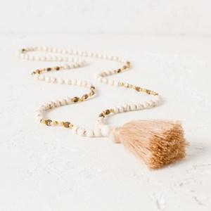 Tassel Stone Mix Long Necklace