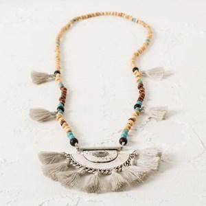 Tibetan Tassel Medallion Long Bead Necklace