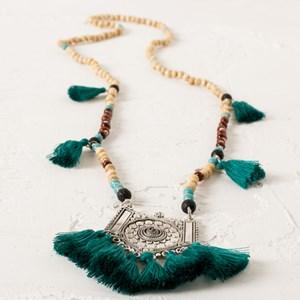 Tibetan Tassel Shield Long Bead Necklace