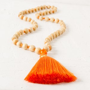 Chunky Tassel & Timber Knot Necklace