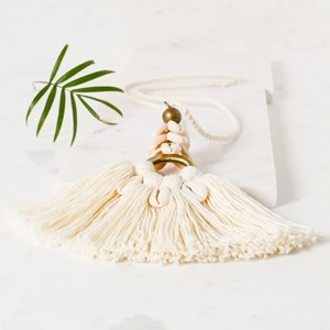Cowry Shell & Cotton Fringe Rope Necklace