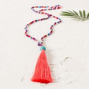 Multi Seed Bead Tassel Necklace