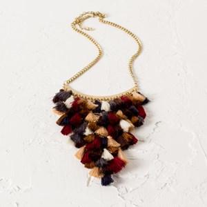 Layered Mini Tassel V Drop Necklace