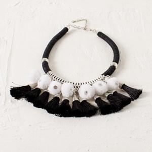 Cord Collar Pom Pom Tassel Necklace