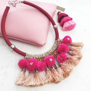 Cord Collar Pom Pom Tassel Necklace