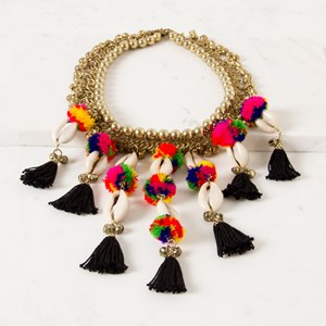 Little Bells Pom Pom Cowri Necklace