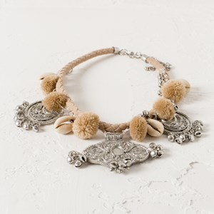 Pom Pom Medallion Cord Necklace