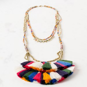 Layered Bead Fringe End Long Necklace