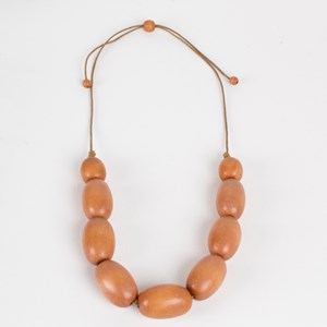 Timber Oval Bead Adjustable Cord Necklace