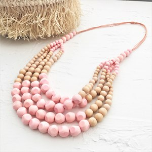 Four Layer Facet Panel Cord Necklace