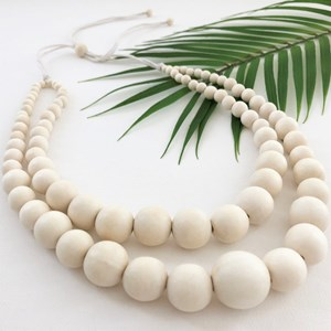 Two Strand Timber Balls Tie Back Necklace