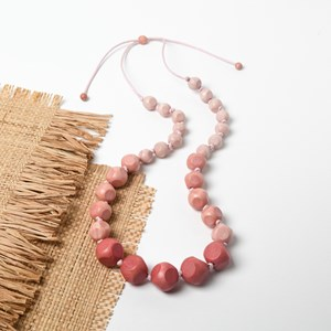 Graduated Timber Facet Balls Necklace