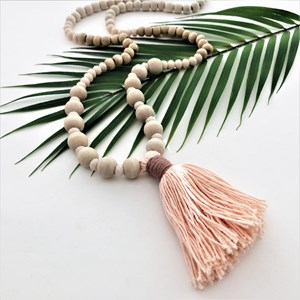 Large Tassel Timber & Crystal Long Necklace