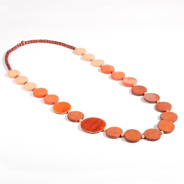 Graduated Circles Long Timber Necklace