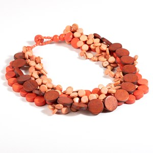 Short Layered Circles Timber Necklace